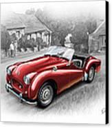 Triumph Tr-2 Sports Car In Red Canvas Print by David Kyte