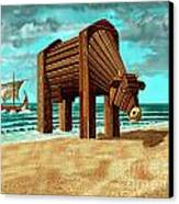 Trojan Cow Canvas Print by Russell Kightley