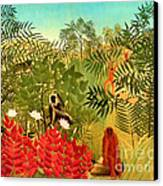 Tropical Jungle By Henri Rousseau Canvas Print by Pg Reproductions