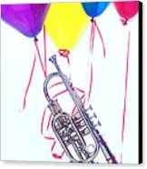 Trumpet Lifted By Balloons Canvas Print by Garry Gay