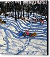 Two Boys Falling Off A Sledge Canvas Print by Andrew Macara