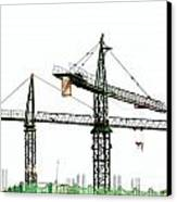 Two Cranes On A Construction Site Canvas Print by Yali Shi