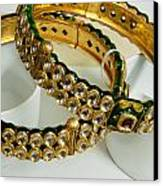 Two Green And Gold Bangles On Top Of Each Other Canvas Print by Ashish Agarwal