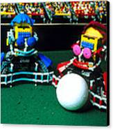 Two Lego Footballers With A Ball At Robocup-98 Canvas Print by Volker Steger
