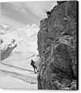 Two Mountain Climbers On The Side Canvas Print by Everett