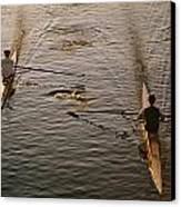 Two Rowers Paddle Down The Charles Canvas Print by Tim Laman