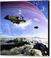Two Spacecraft Prepare To Depart Canvas Print