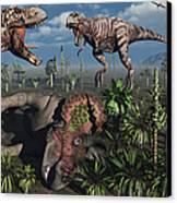 Two T. Rex Dinosaurs Confront Each Canvas Print by Mark Stevenson