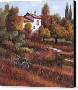 Una Bicicletta Nel Bosco Canvas Print by Guido Borelli