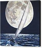 Under Full Sail..under Full Moon Canvas Print by Jack Skinner