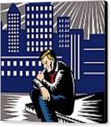 Unemployed Male Worker Sidewalk Canvas Print by Aloysius Patrimonio