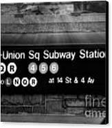 Union Square Subway Station Bw Canvas Print
