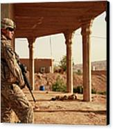 U.s. Army Soldier Pulls Security Canvas Print