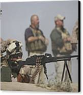 U.s. Marine Firing A Pk 7.62mm Machine Canvas Print by Terry Moore