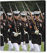 U.s. Marines March By During The Pass Canvas Print by Stocktrek Images