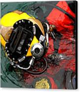 U.s. Navy Diver Is Lowered Canvas Print by Stocktrek Images