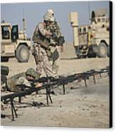 U.s. Soldiers Prepare To Fire Weapons Canvas Print by Terry Moore