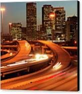 Usa, Texas, Houston City Skyline And Motorway, Dusk (long Exposure) Canvas Print