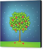 Valentine Tree With Hearts And Stars Canvas Print