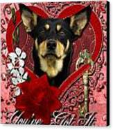 Valentines - Key To My Heart Australian Kelpie Canvas Print by Renae Laughner