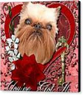 Valentines - Key To My Heart Brussels Griffon Canvas Print