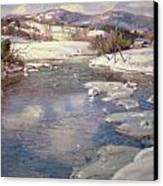 Valley Stream In Winter Canvas Print by George Gardner Symons
