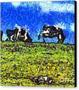 Van Gogh Goes Cow Tipping 7d3290 Canvas Print