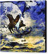 Van Gogh.s Flying Pig 2 Canvas Print by Wingsdomain Art and Photography