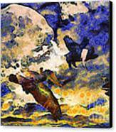 Van Gogh.s Flying Pig Canvas Print by Wingsdomain Art and Photography