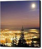 Vancouver At Night, Time-exposure Image Canvas Print by David Nunuk