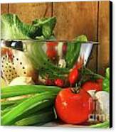 Veggies On The Counter Canvas Print by Sandra Cunningham