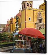 Vending Cart Outside Of The Basilica De Canvas Print by Krista Rossow