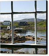 View Of A Harbor Through Window Panes Canvas Print