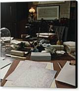 View Of Darwin's Desk At Down House Canvas Print by Volker Steger