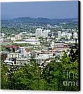 View Of Portland Oregon From Pittock Mansion  Canvas Print by Sherry  Curry