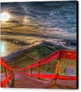 View Of Sun Into Sea At Marin Headlands Canvas Print