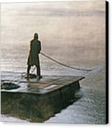 Villager On Raft Crosses Lake Phewa Tal Canvas Print by Gordon Wiltsie
