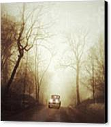 Vintage Car On Foggy Rural Road Canvas Print by Jill Battaglia