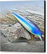 Vintage Fishing Lure - Floyd Roman Nike Blue And White Canvas Print