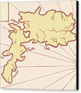 Vintage Map Of Island Canvas Print by Aloysius Patrimonio