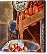 Vintage Scale At Fruitstand Canvas Print