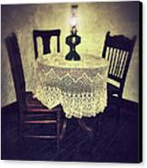 Vintage Table And Chairs By Oil Lamp Light Canvas Print by Jill Battaglia