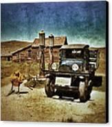 Vintage Vehicle At Vintage Gas Pumps Canvas Print by Jill Battaglia