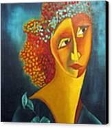 Waiting For Partner Orange Woman Blue Cubist Face Torso Tinted Hair Bold Eyes Neck Flower On Dress Canvas Print