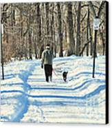 Walking The Dog Canvas Print by Paul Ward