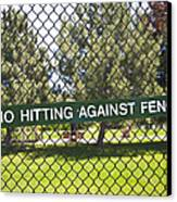 Warning Sign On Chain Fence Canvas Print by Thom Gourley/Flatbread Images, LLC