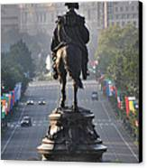Washington Looking Down The Parkway - Philadelphia Canvas Print by Bill Cannon
