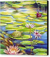 Water Lilies At Mckee Gardens I - Turtle Butterfly And Koi Fish Canvas Print