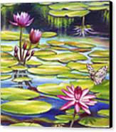 Water Lilies At Mckee Gardens II - Butterfly And Frog Canvas Print by Nancy Tilles