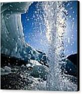 Water Splashes Over A Sheet Of Ice Canvas Print